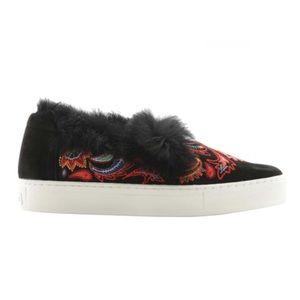 Rachel Zoe Fur Embroidered Suede Burke Sneaker